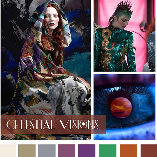 #DesignOptions FW18/19 color report on #WeConnectFashion, Contemporary Women's Mood: Celestial Visions.