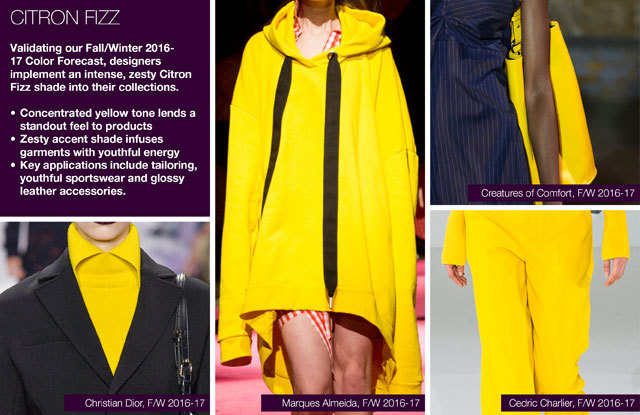#Trendstop on #WeConnectFashion, Key Women's Catwalk Color FW 16/17: Citron Fizzy.