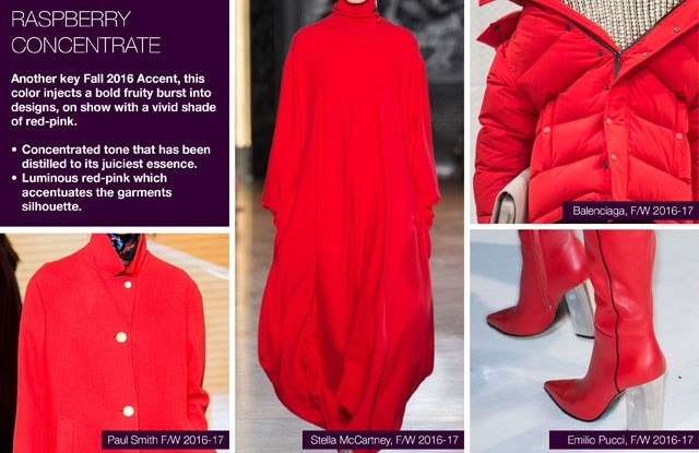 Trendstop on #WeConnectFashion, Key Women's Catwalk Color FW 16/17: Raspberry Concentrate.