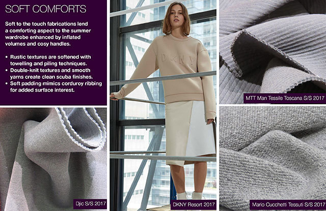 #Trendstop Women's S/S 2018 trends on #WeConnectFashion. Material Directions: Soft Comforts