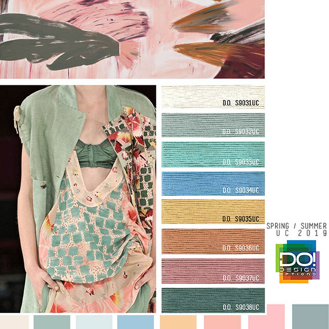 #DesignOptions SS19 Women's color forecast on #WeConnectFashion, trend theme: Tea Party, detail.