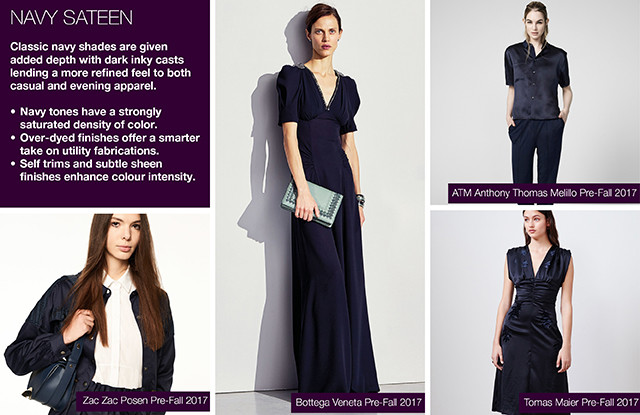 """#Trendstop Pre Fall 2017 Preview on #WeConnectFashion. Insight: Navy Sateen"