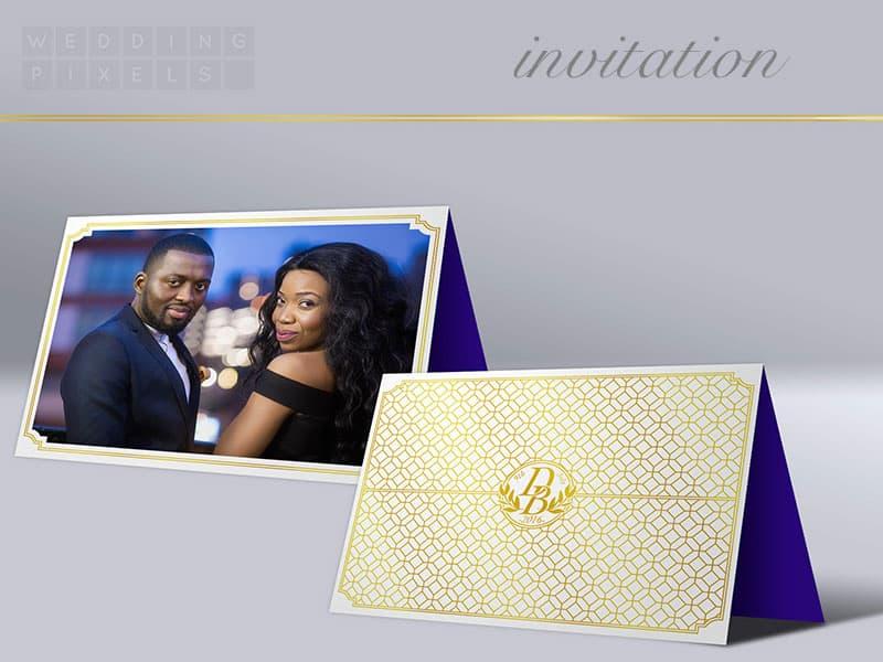wedding invitation with engagement photo and custom designed logo