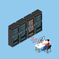System Administrator working on computer, connected to server rack vector illustration.
