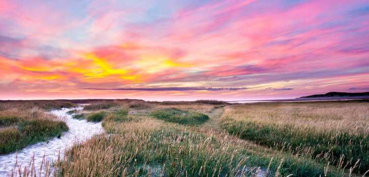 Zonsondergang op het Texelse strand
