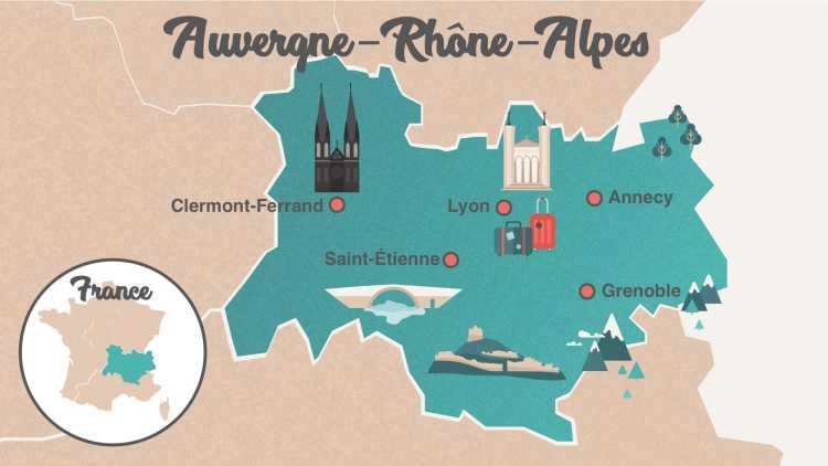 Carte Region Auvergne - Rhones Alpes