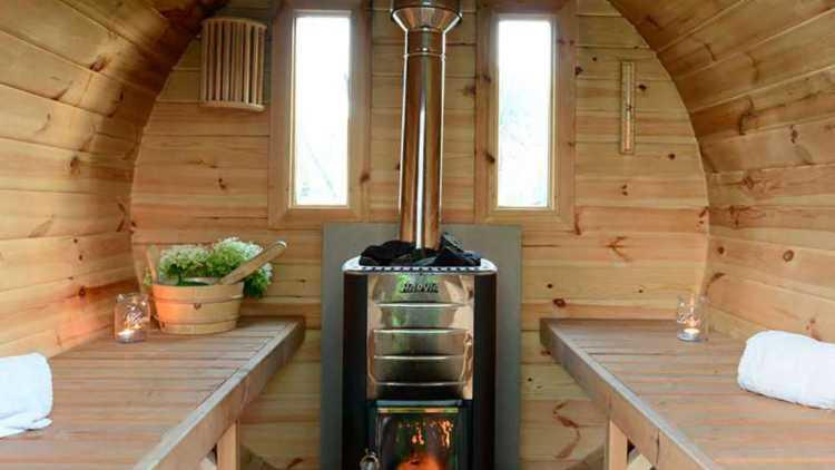 Sfeervolle sauna, glamping De Witte Merel
