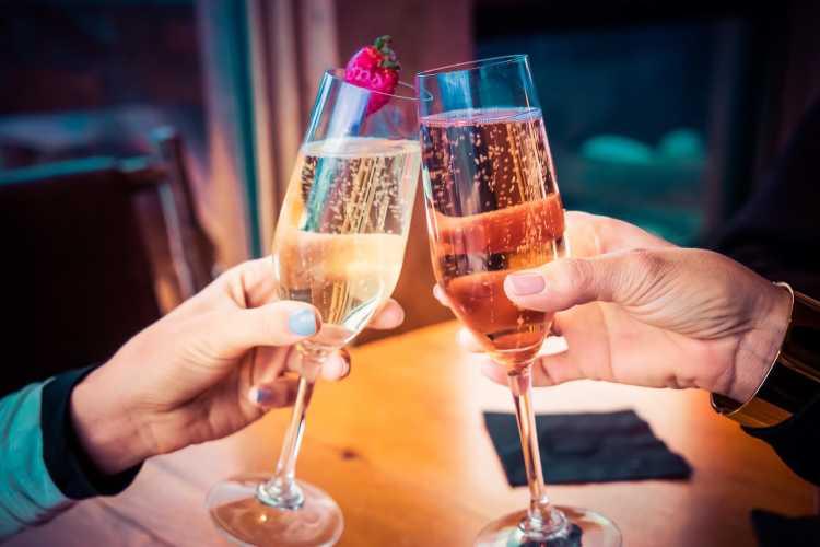 Champagne et célébration de Noël