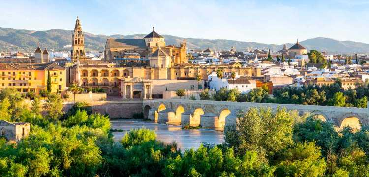 Detalle del puente romano y la Mezquita de Córdoba