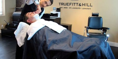 Rod Aras, the resident barber, is a deft hand with the classic cut-throat razor