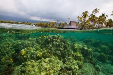 Hale O Keawe Heiau from the water