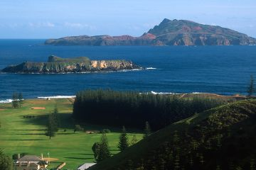 Norfolk Island with Philip Island in the distance