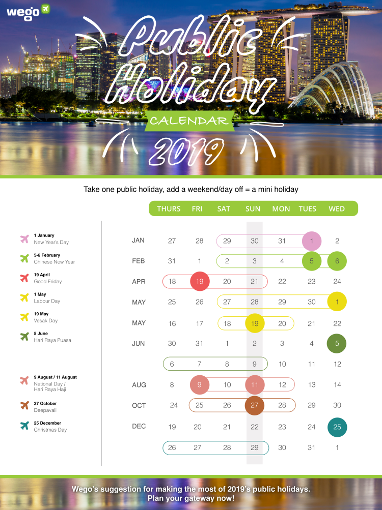 Singapore Public Holiday Calendar 2019