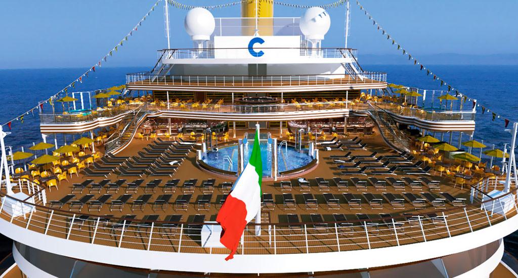 العلم الأيطالي يعلو سفينة كوستا دياديما - الصورة من موقع costacroisieres