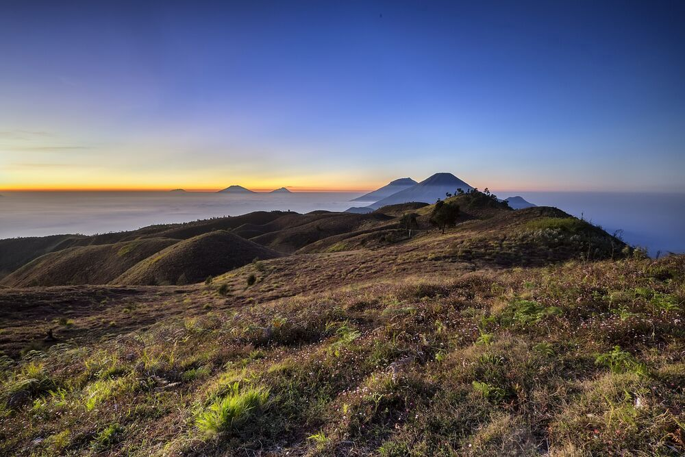 Indahnya panorama dari savana di Gunung Prau ini!
