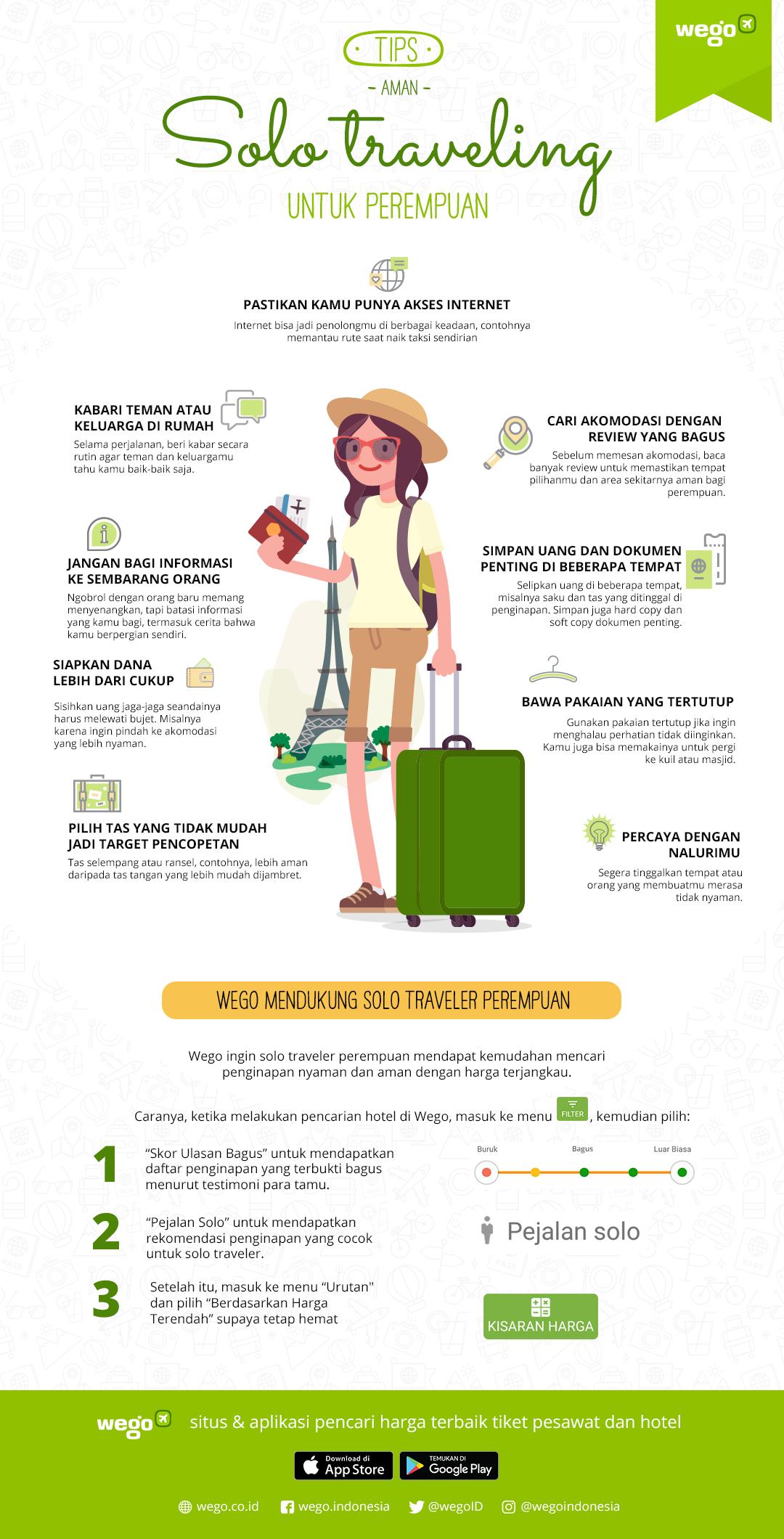 Infografik Tips Solo Traveling Perempuan