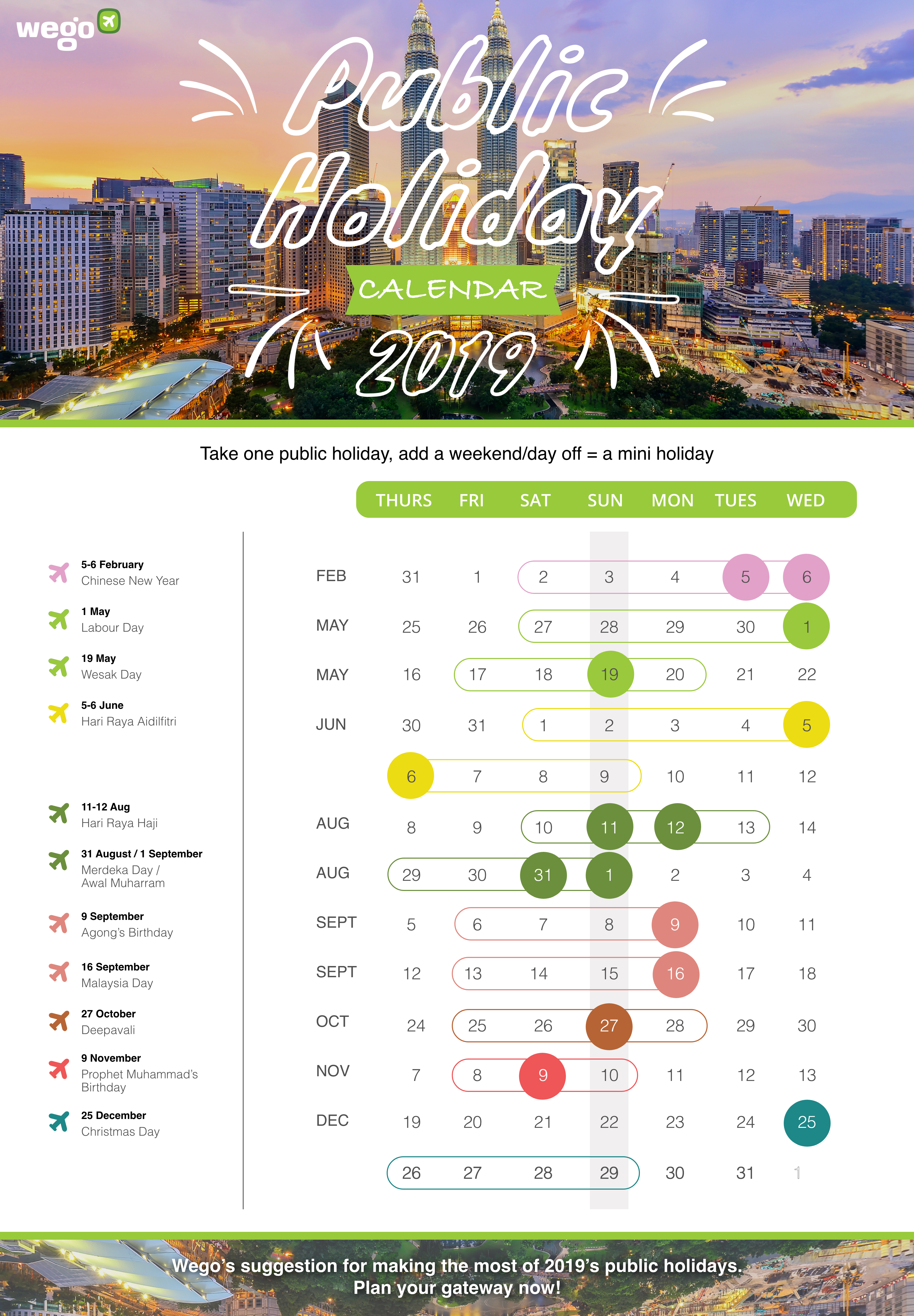 Christmas Holidays 2019 Calendar.Wego S 2019 Calendar For Public Holidays In Malaysia Wego
