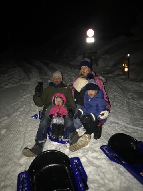 Sledge Down by Moonlight_ski trip in verbier