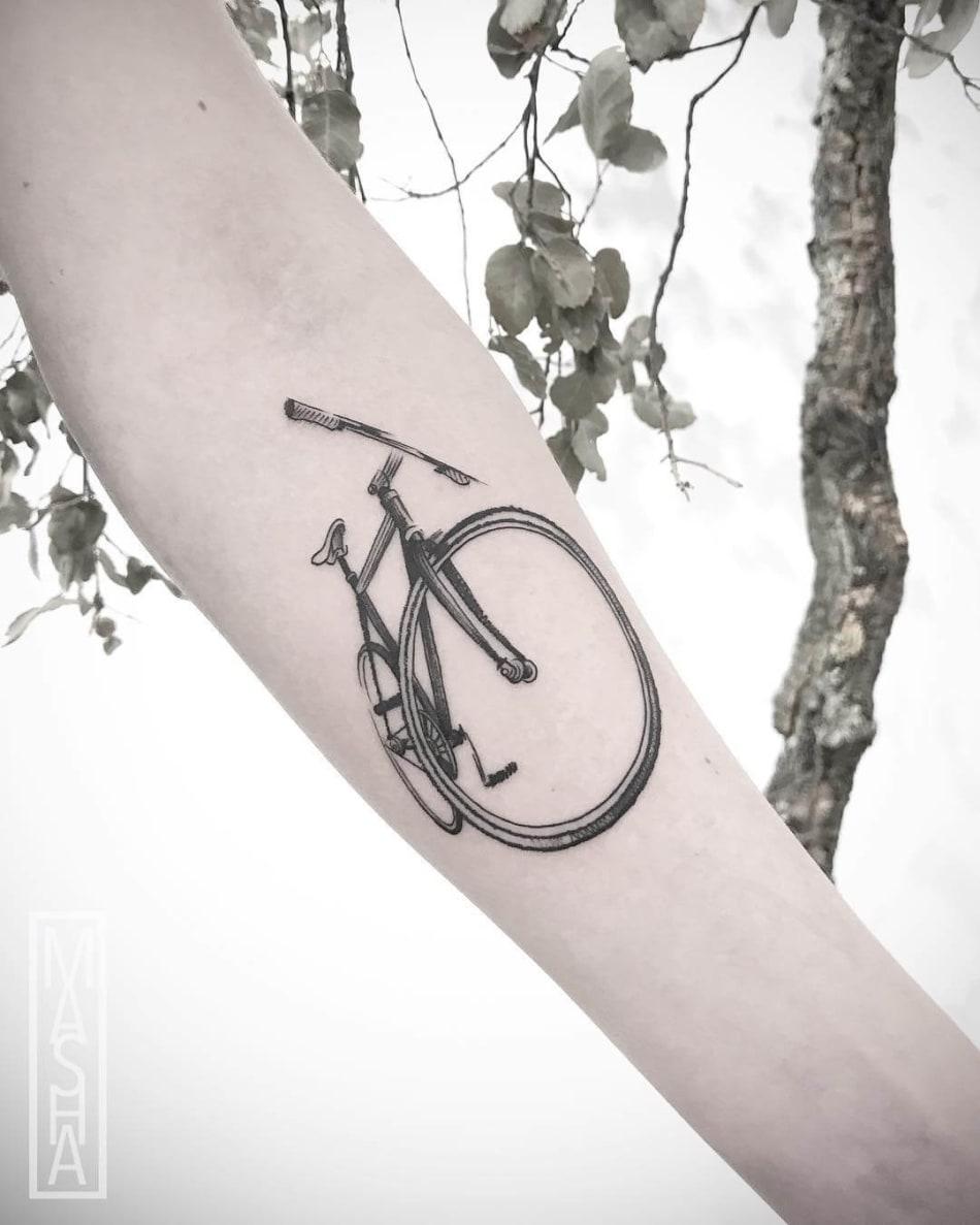 Bicycle tattoo from mashatattoo