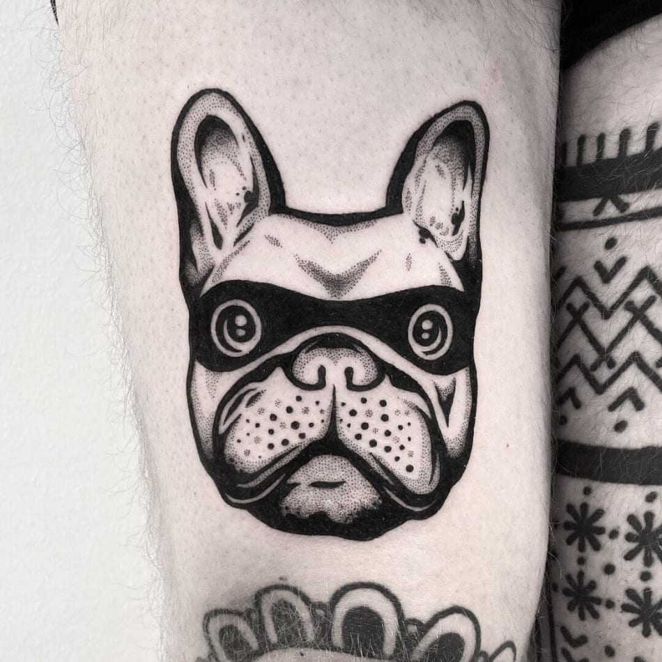 pug dog with mask tattoo by Pulledpoltergeist
