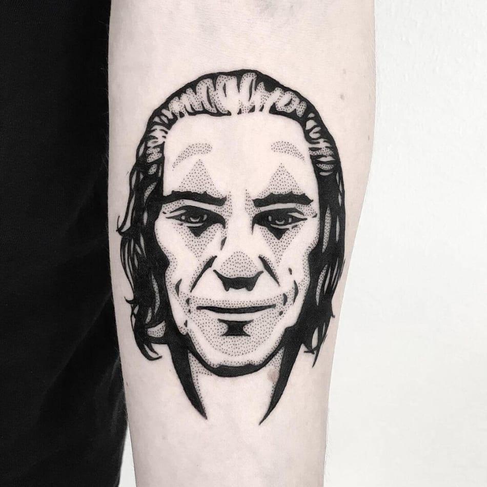 the joker dotwork tattoo by Pulledpoltergeist