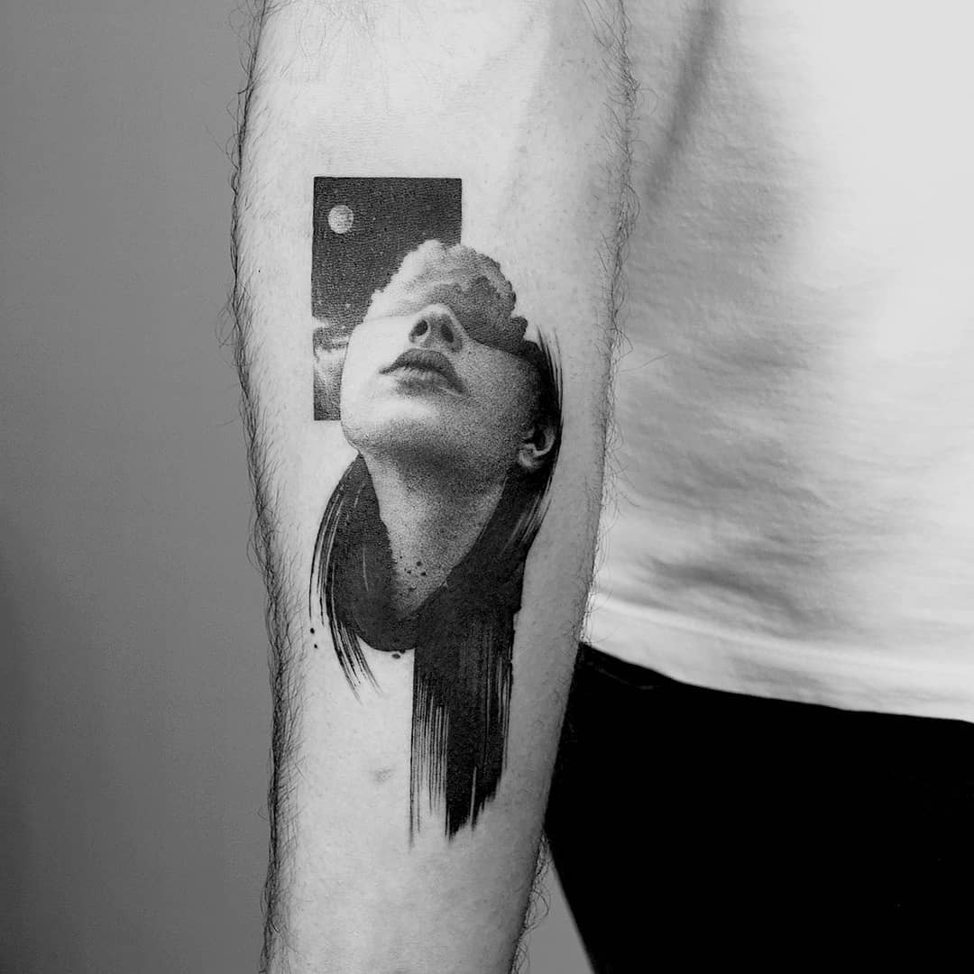 Woman portrait with her head in the clouds tattoo by Amanda Piejak