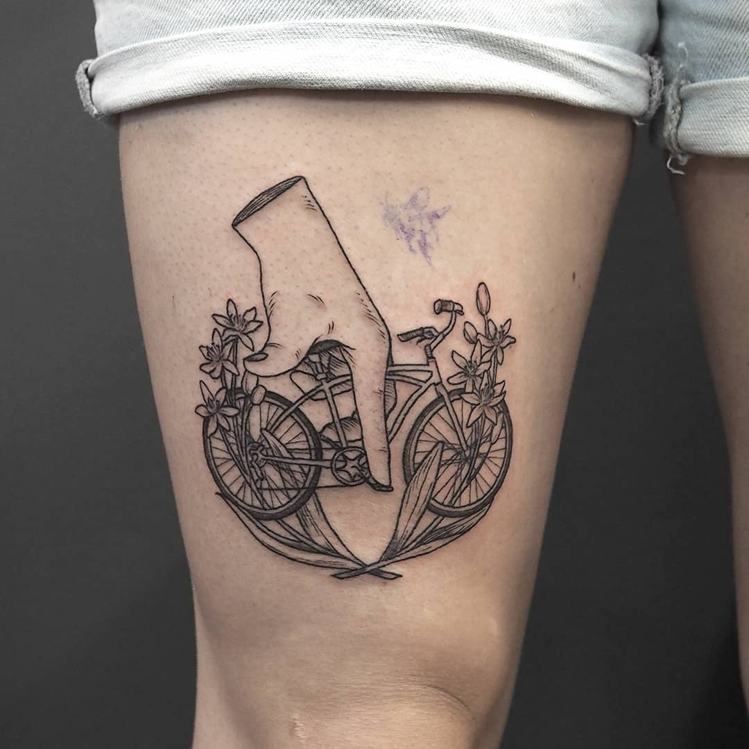 Bicycle tattoo from ek.tattoos
