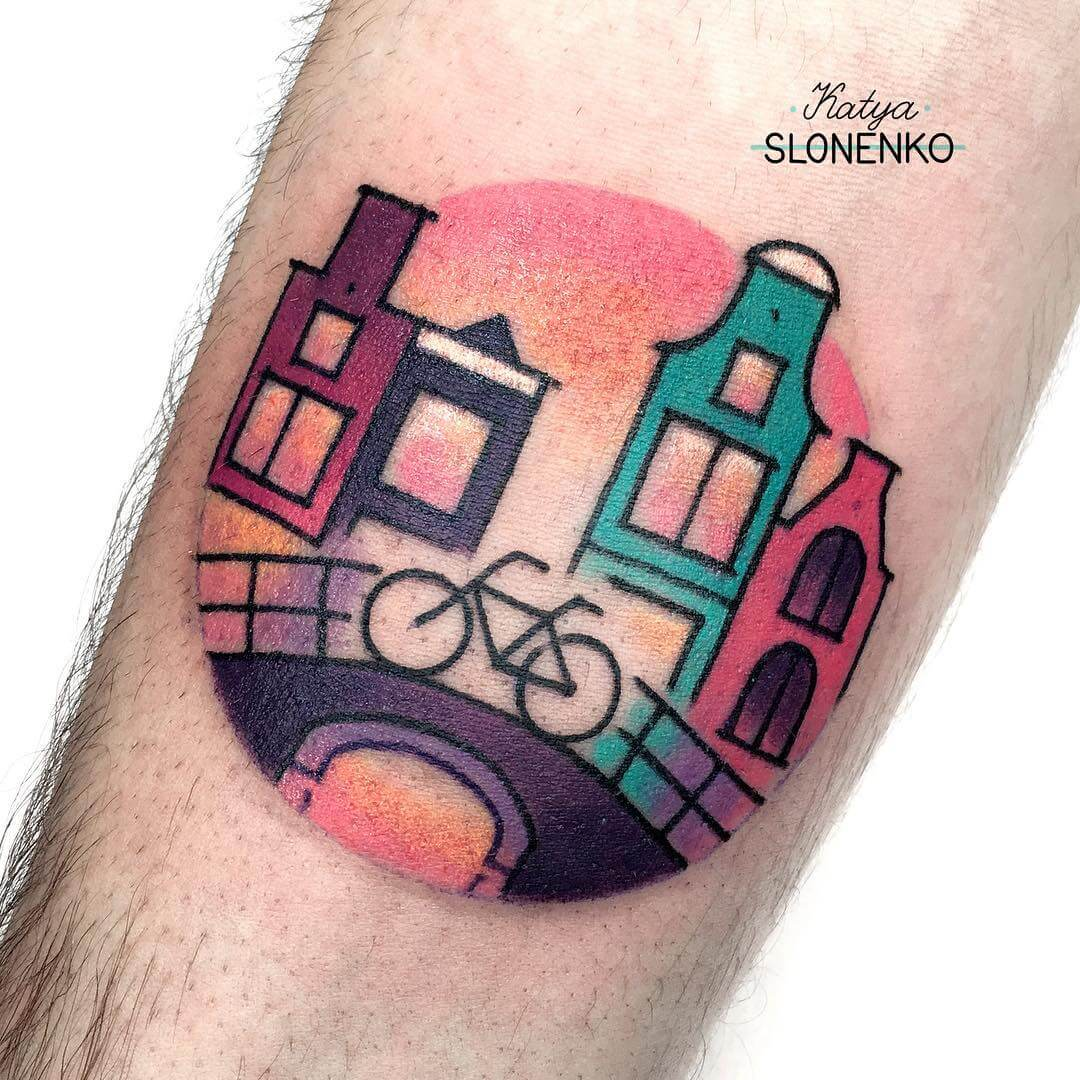 Amsterdam Bicycle tattoo from slonenkotattoo