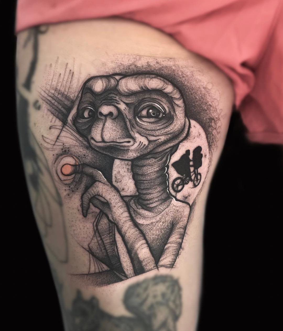 E.T. with pug tattoo
