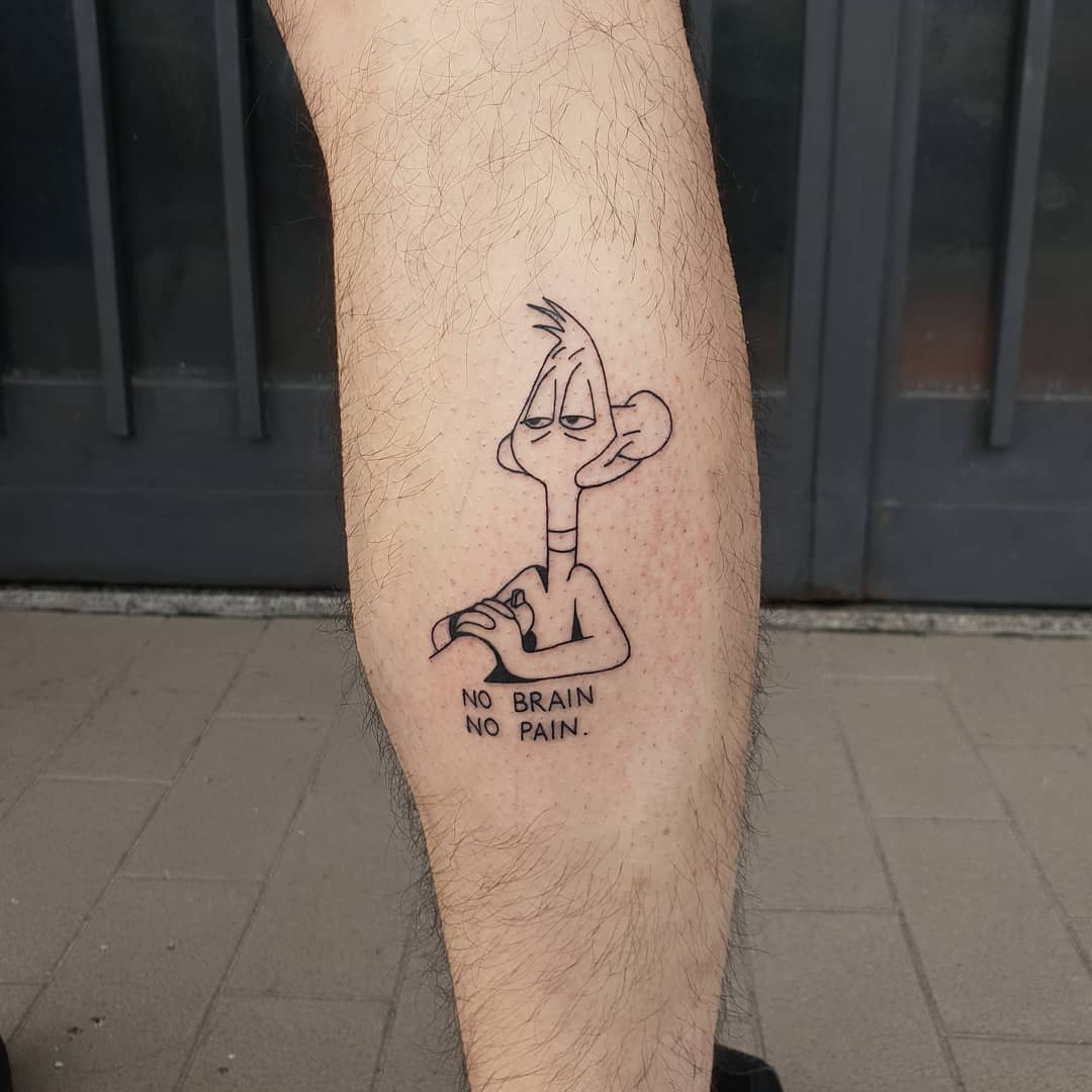 Daffy Duck cartoon under fire with text 'no brain, no pain' tattoo by Lugosis