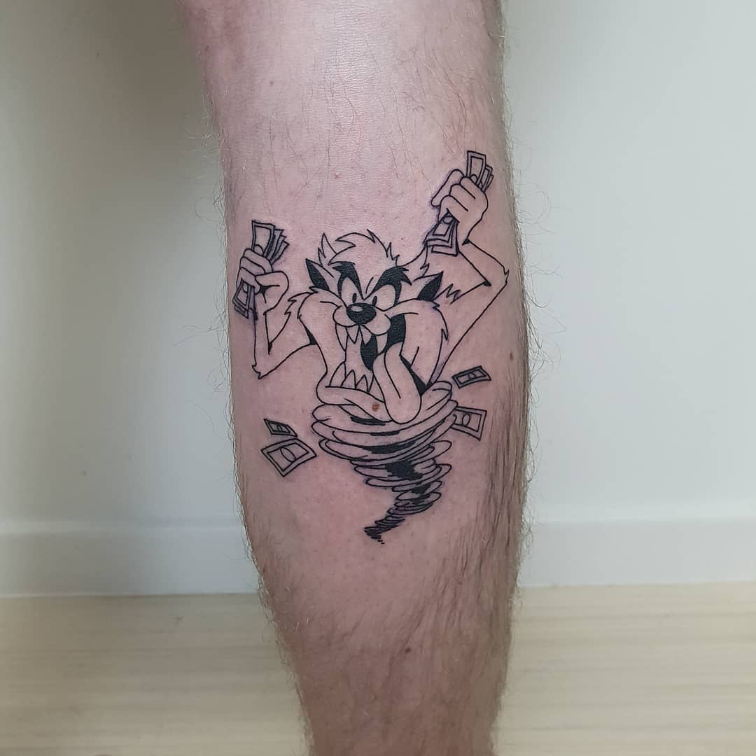 Tasmanian devil with money tattoo by Lugosis