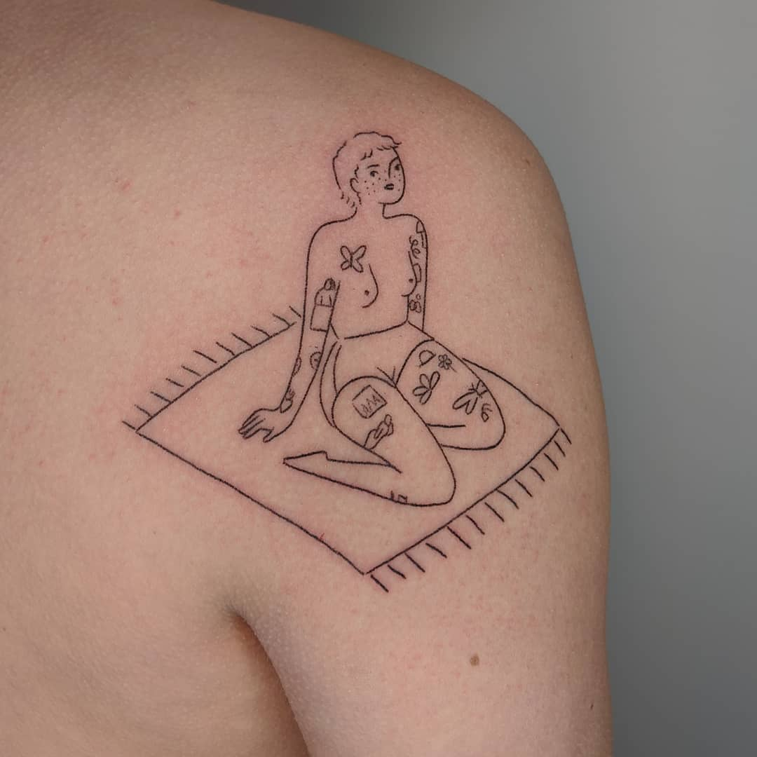 Tattooed girl on a carpet tattoo by Mellowpokes