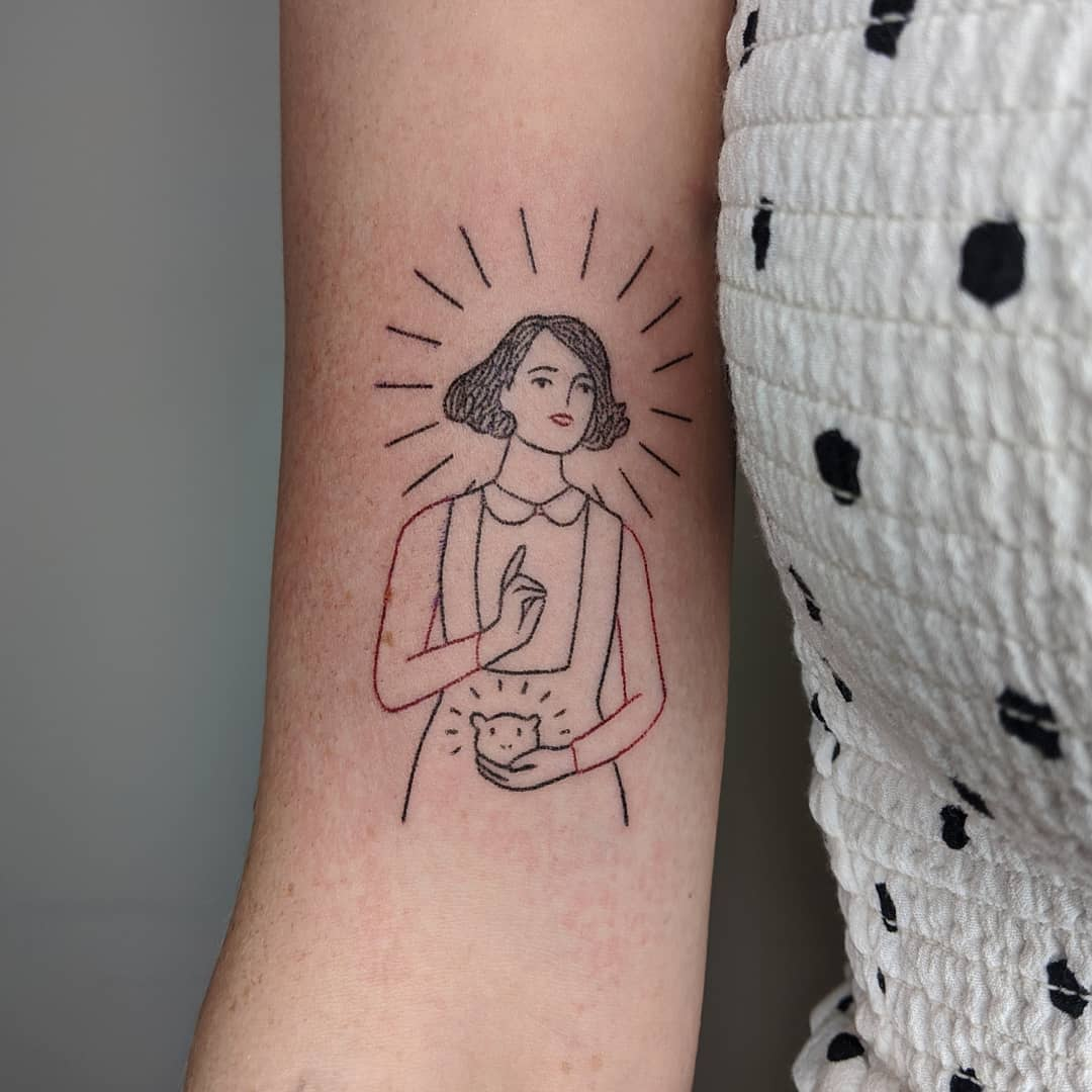 Woman with hamster tattoo by Mellowpokes