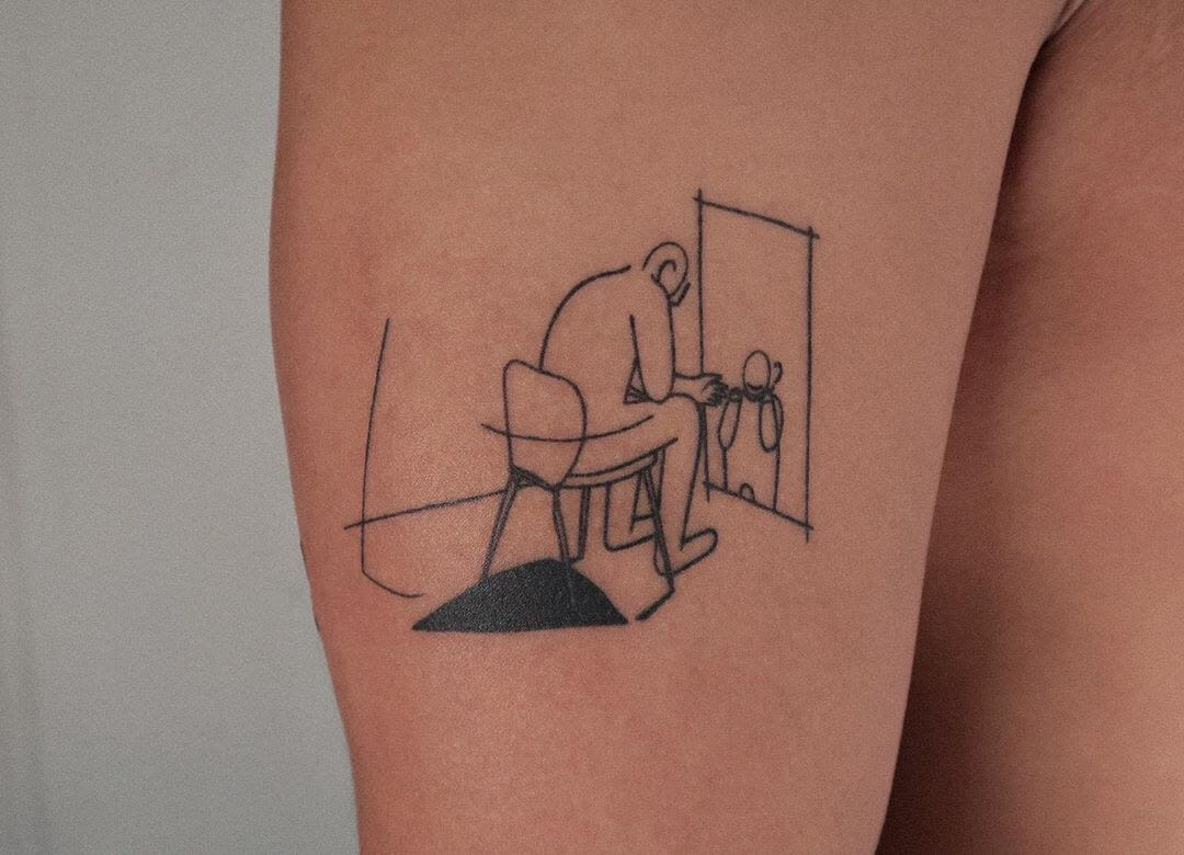 Illustrative tattoo of a man sitting on a chair by Minigreemer