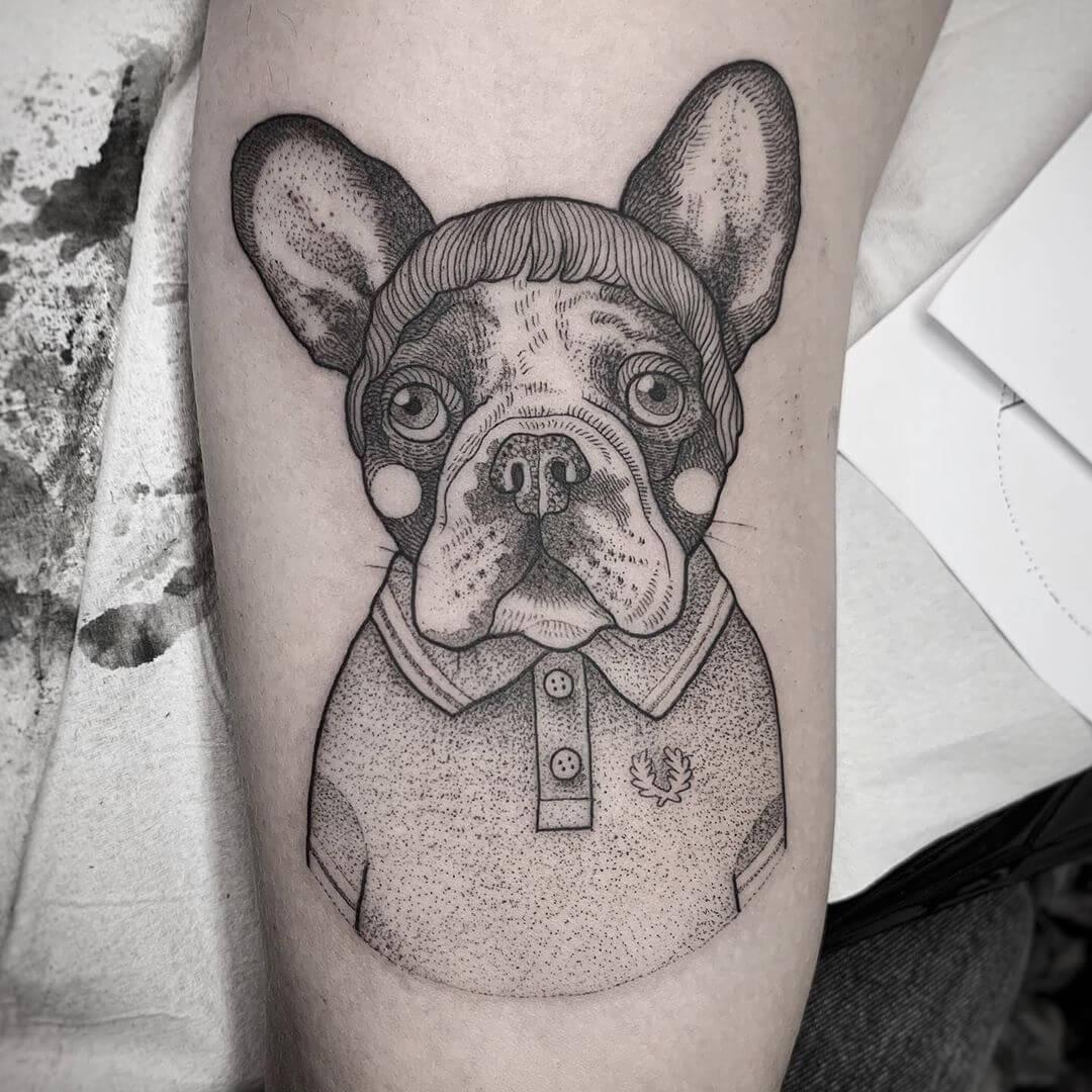 Illustrative french bulldog with hair and shirt, tattoo by Suflanda