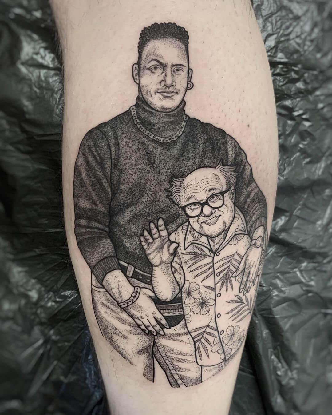 Illustrative portrait of Dwayne Johnson and Danny Devito, tattoo by Suflanda