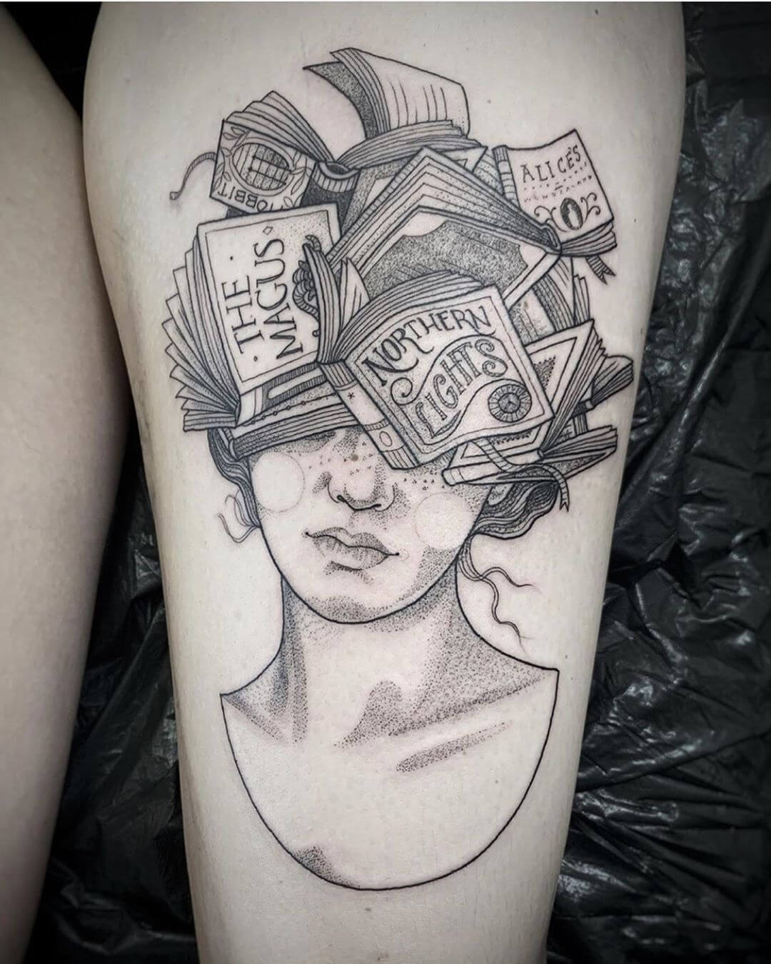 Illustrative portrait of woman with books as hair, tattoo by Suflanda