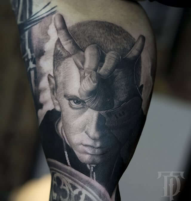 Portrait of Eminem tattoo by tdantattoo
