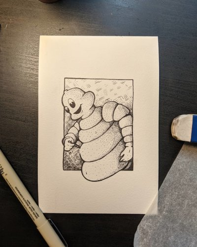 Michelin Man drawing itself
