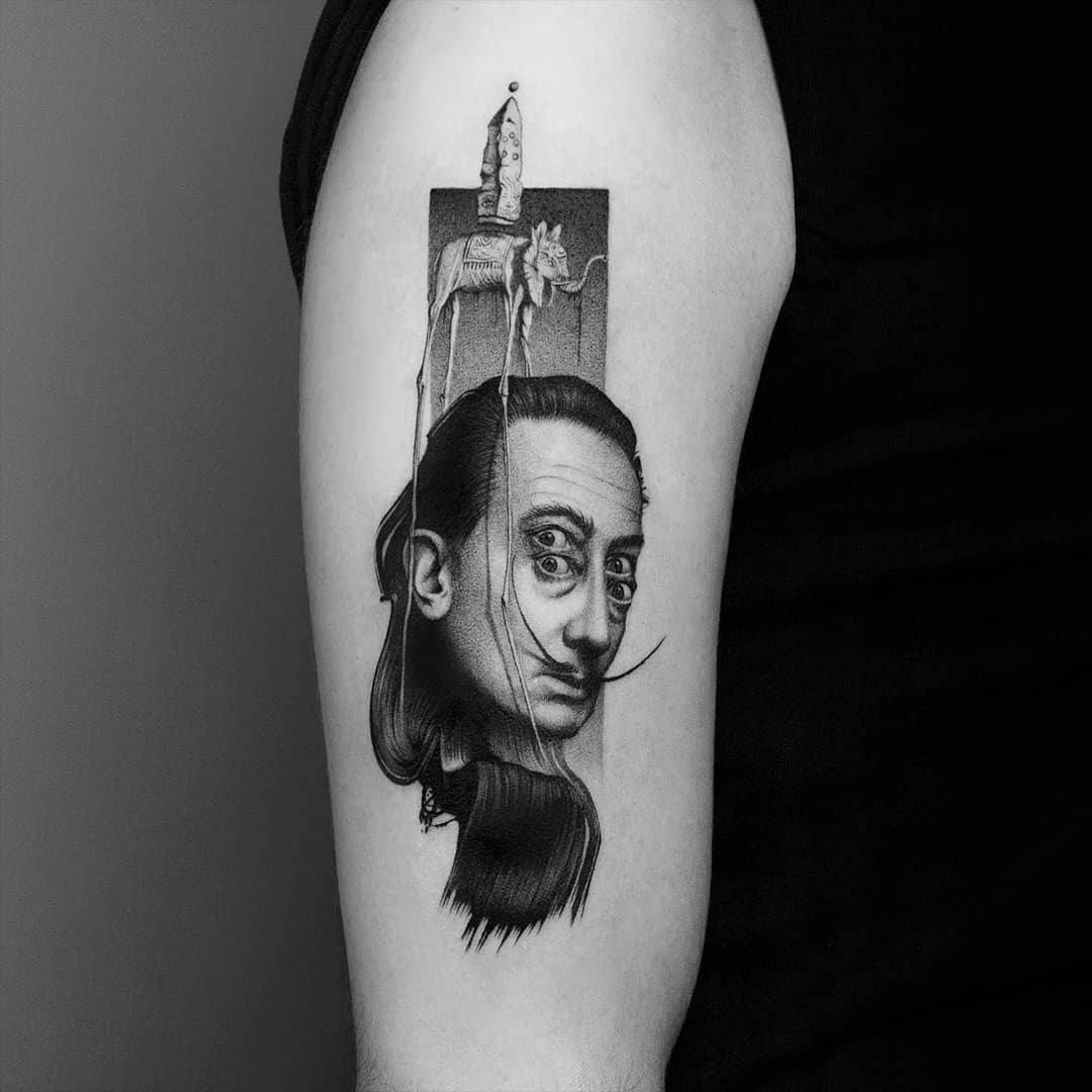 Dali collage tattoo by Amanda Piejak