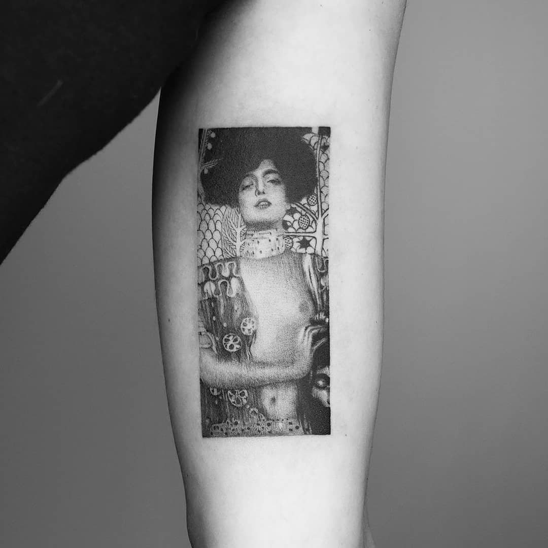 Tattoo of a Gustav Klimt painting by Amanda Piejak