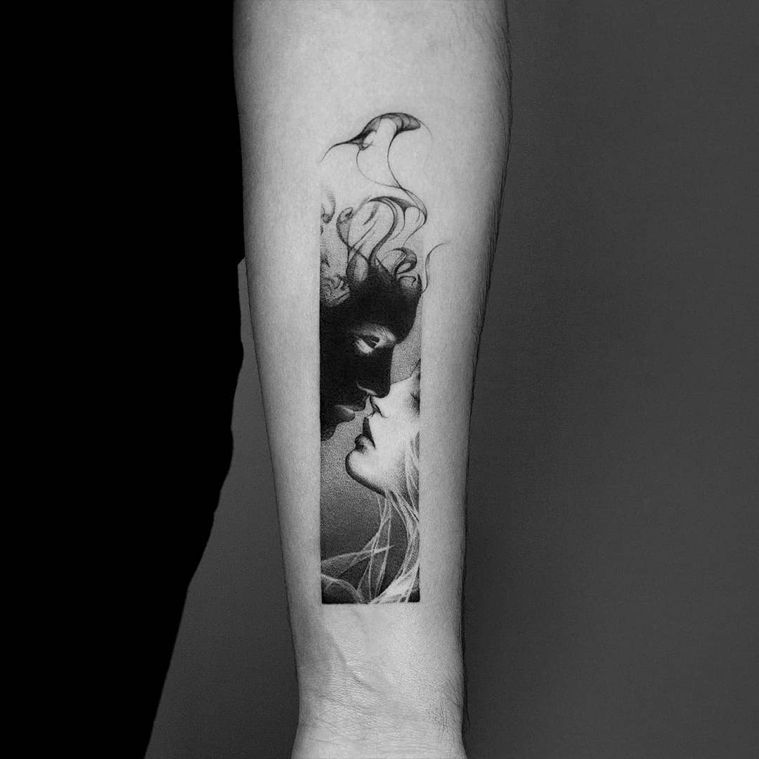 Black and white kissing tattoo by Amanda Piejak