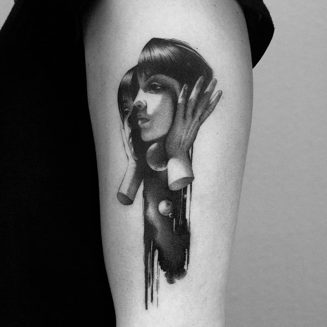 Woman split in two tattoo by Minigreemer