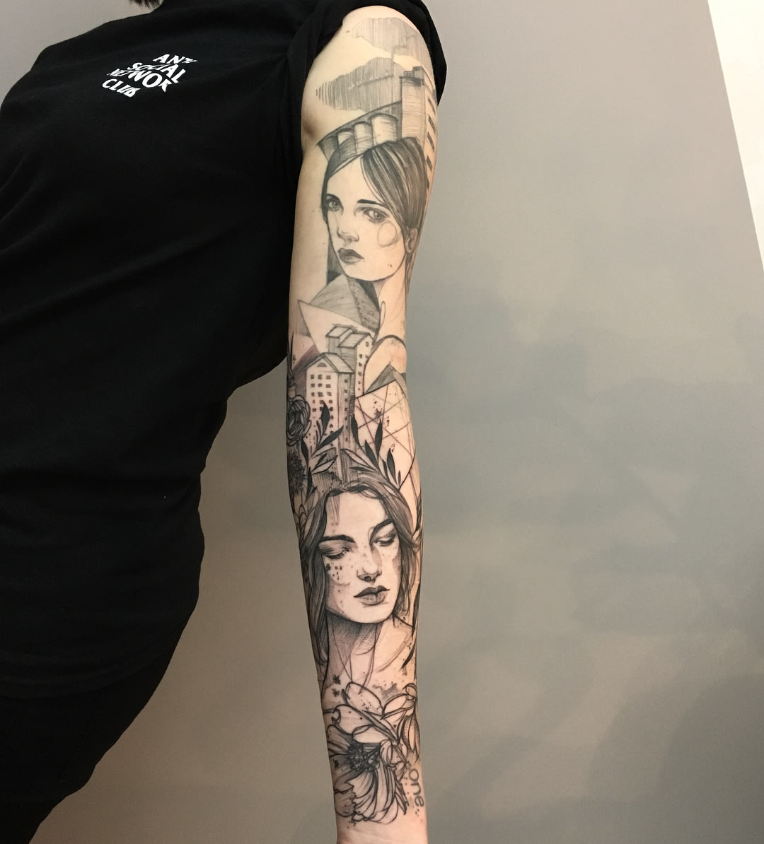Anki Michler Portait Sleeve Tattoo