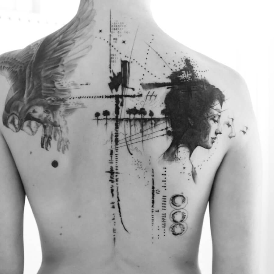 Balazs Bercsenyi backpiece owl and female portrait tattoo