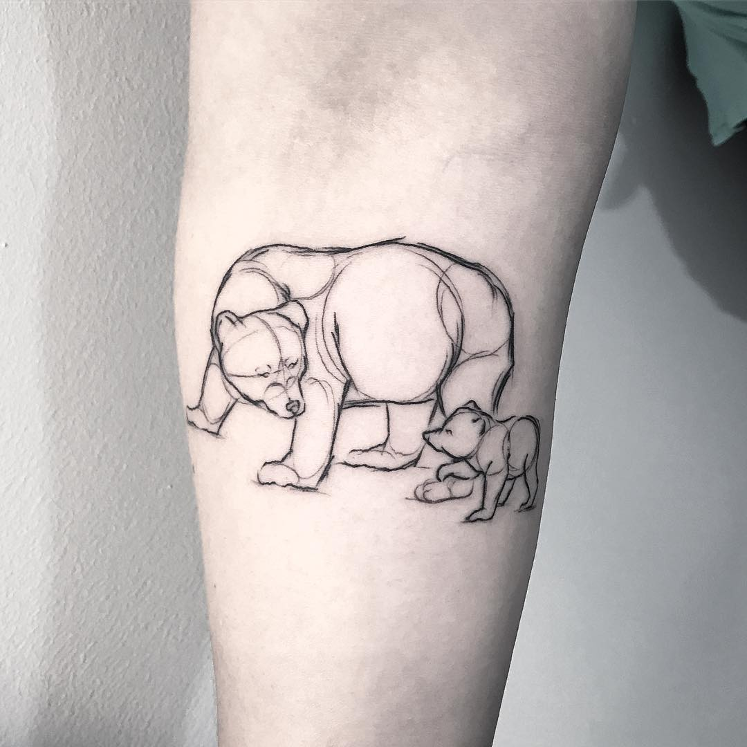 Sketched bear with young bear tattoo