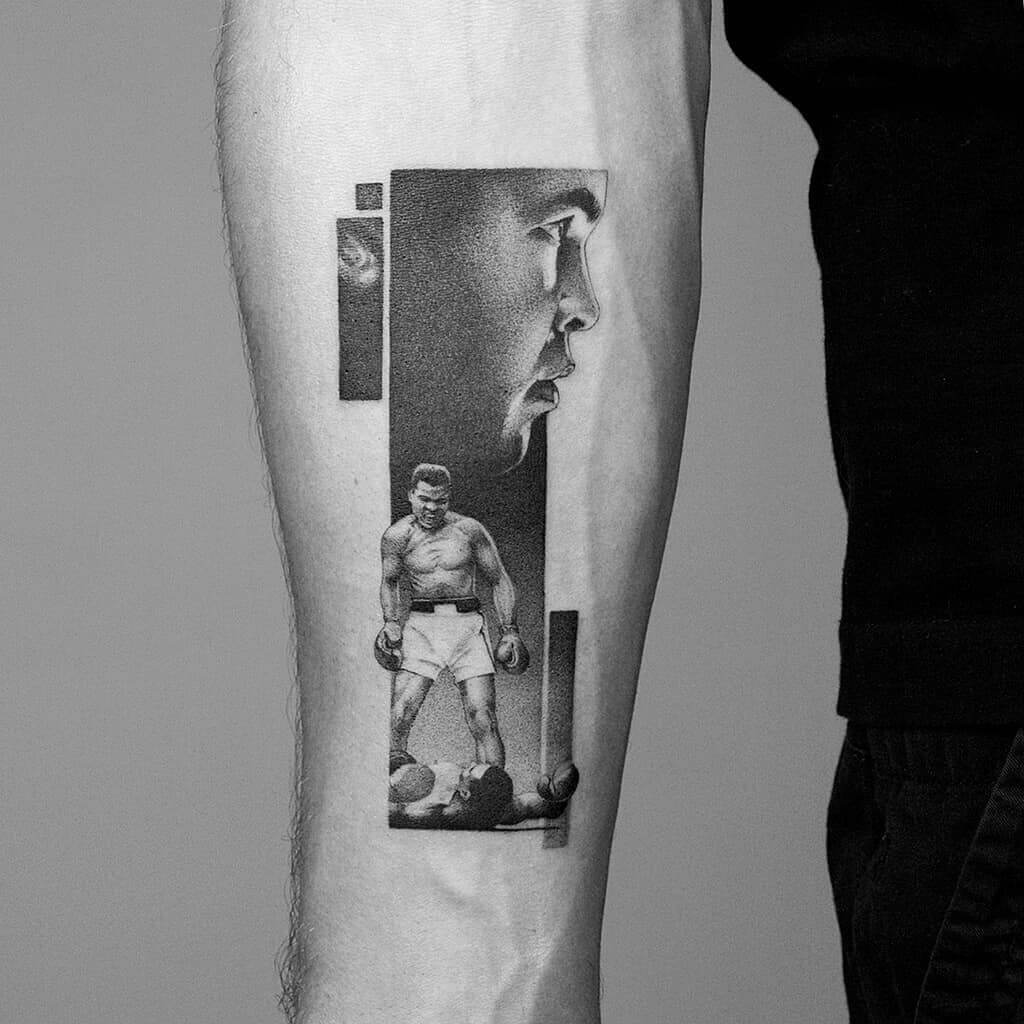 Tattoo showing a dynamic portait of Muhammad Ali.
