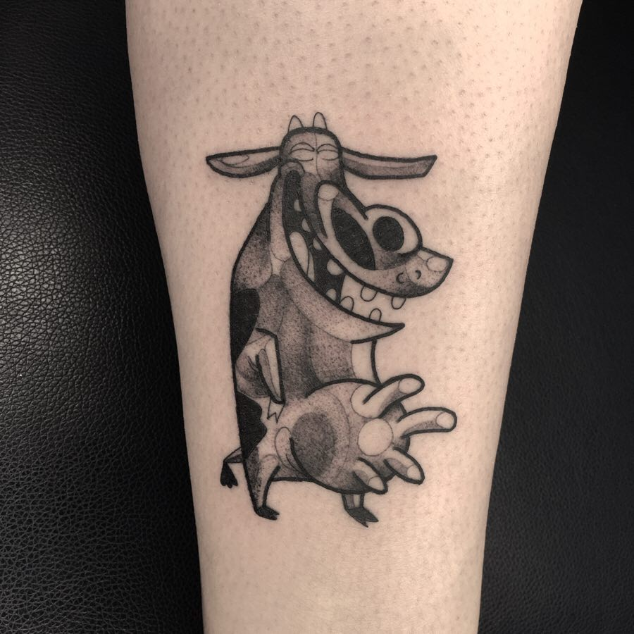 Childhood tv show Cow and Chicken tattoo