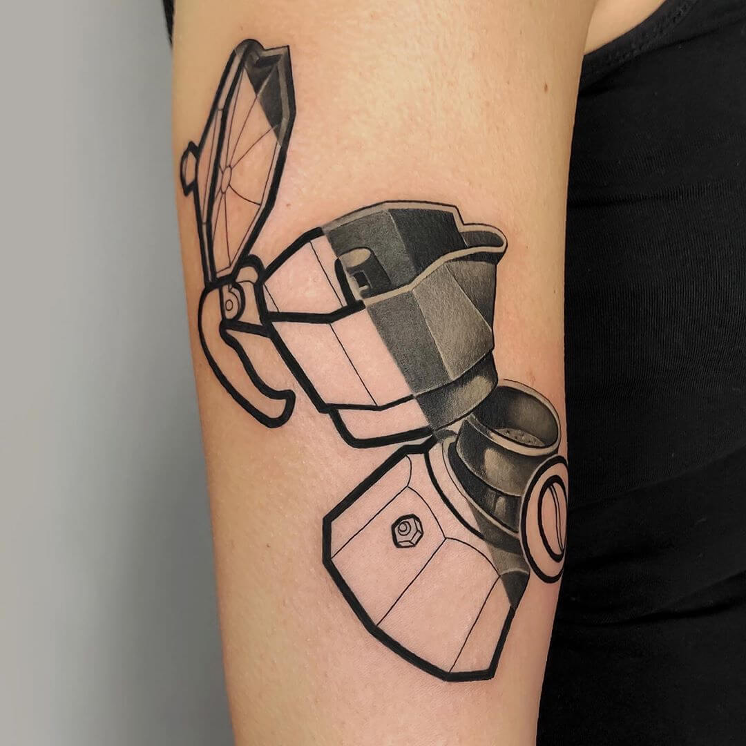 Graphic tattoo of a retro coffee maker