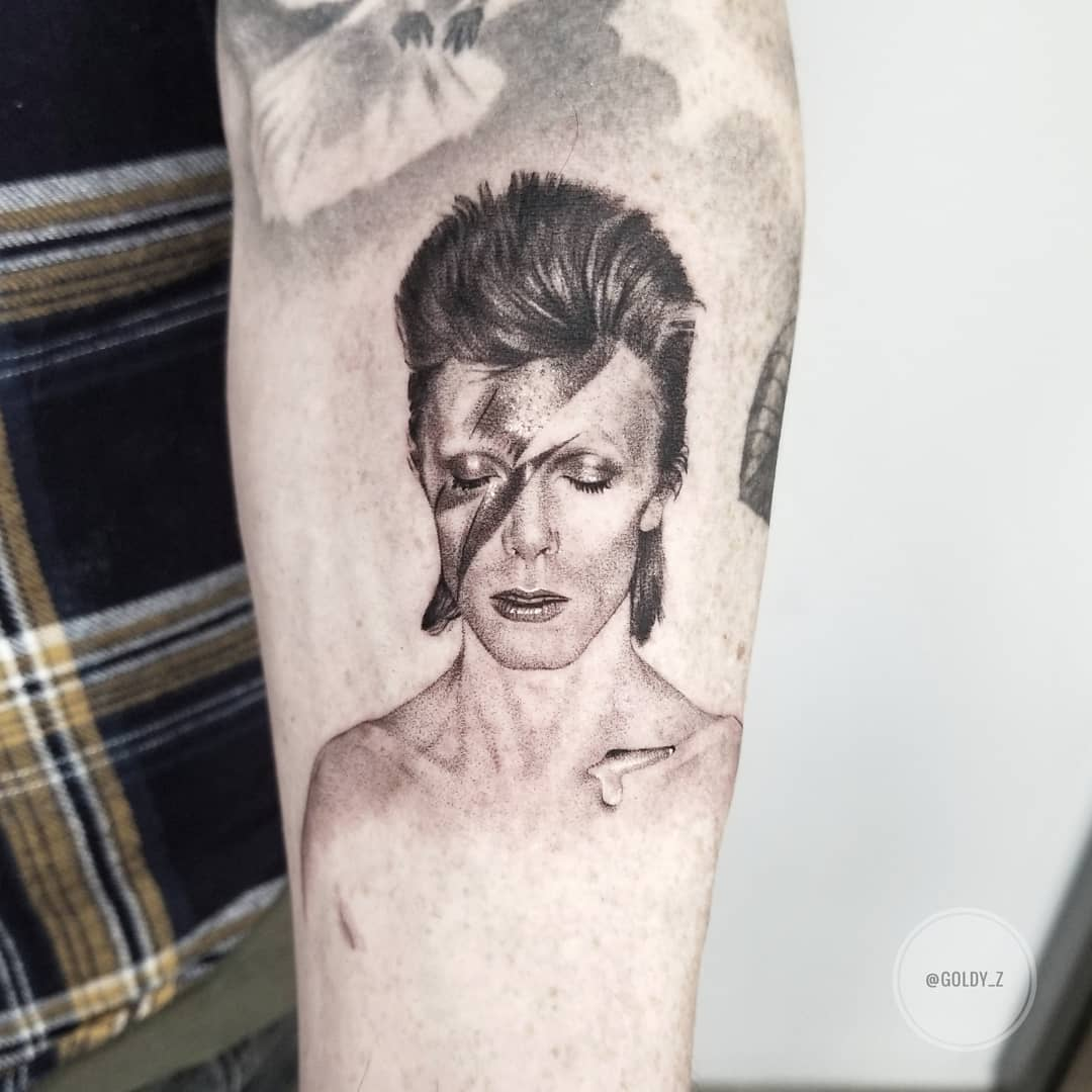 David Bowie realistic portrait tattoo